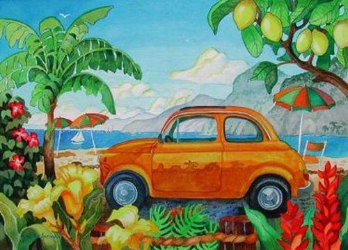 Little Car in Capri Beach Print