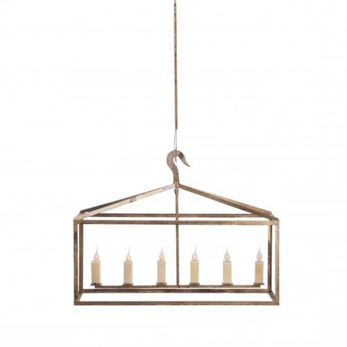 Long Hart Box Six Light Chandelier