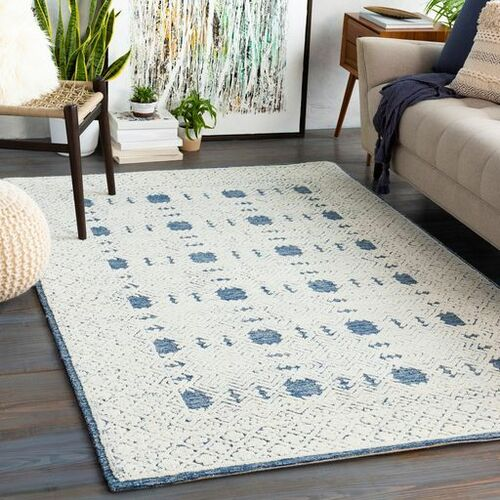 Louvre Navy Blue Hand Tufted Rug
