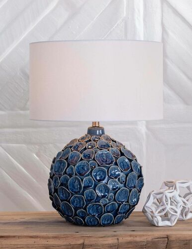 Lucia Ceramic Blue Table Lamp  <font color=a8bb35>Backorder</font>