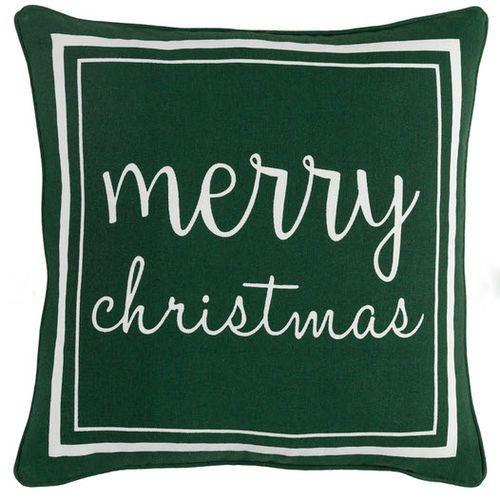 Merry Christmas Pillow Green