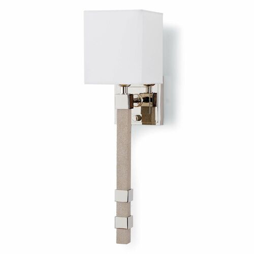 Metro Sconce Polished Nickel/Shagreen