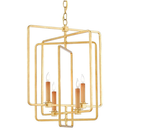 Metro Square Chandelier in Gold Leaf