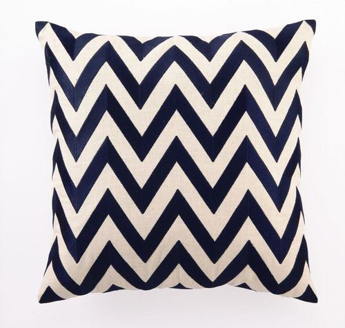 Navy Zig Zag Linen Pillow