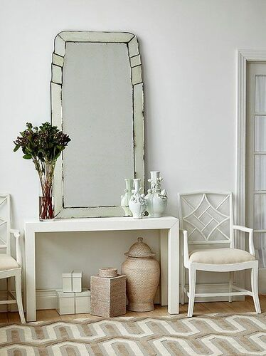 Parsons Console in White Lacquered Grasscloth