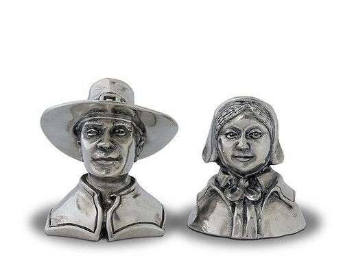 Pewter Pilgrims Couple Salt & Pepper Set *Backorder