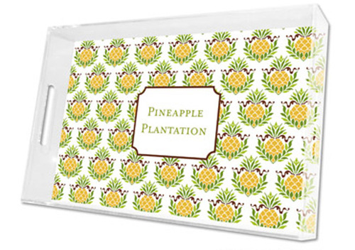 Pineapple Repeat Lucite Tray in Three Sizes