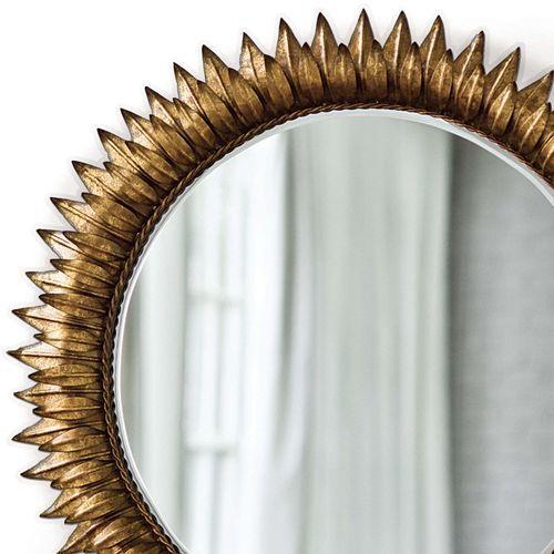 Round Sun Mirror in Antique Gold