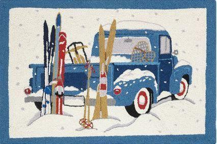 Rupe Blue Truck Indoor Christmas Doormat
