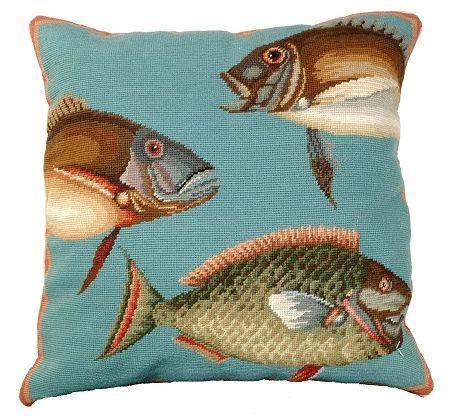 Saltwater Fish Needlepoint II Pillow