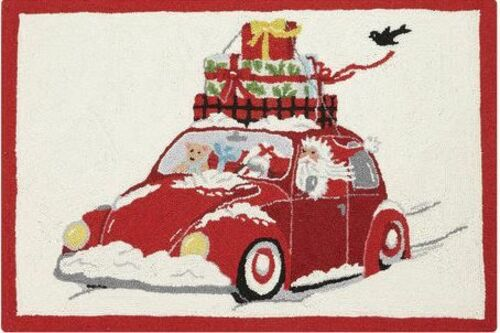 Santa Wagon Indoor Christmas Doormat