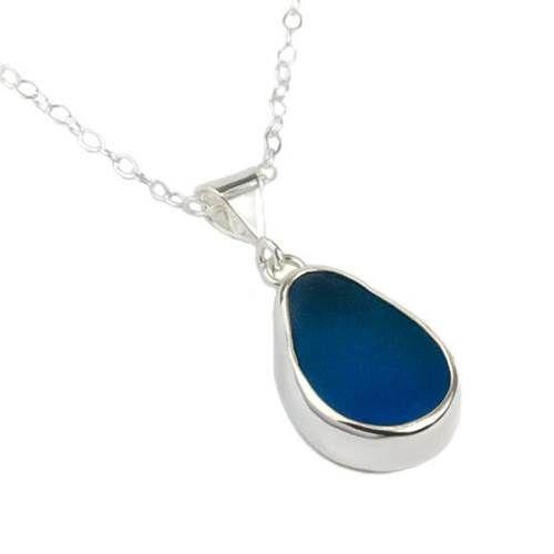 Sea Glass Baby Splash Pendant - Blue