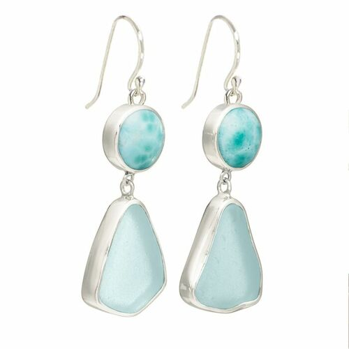 Sea Glass Earrings with Lagoon Drop Wire