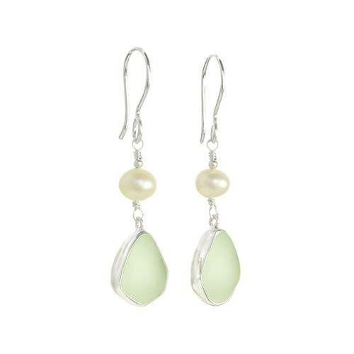 Sea Glass Earrings with Pearl Drop