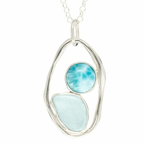 Sea Glass Pendant with lagoon Link<font color=a8bb35> Sold Out</font>