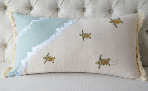 Sea Turtle Embroidered Lumbar Pillow