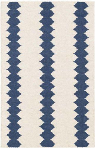 Senna Ivory/Blue Woven Wool Rug