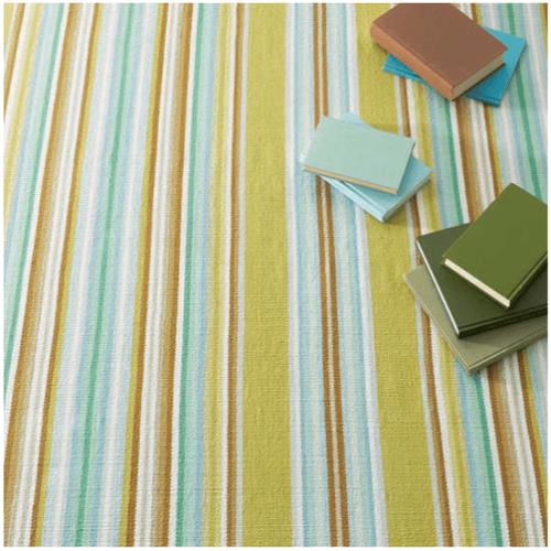 Serape Green Woven Cotton Rug