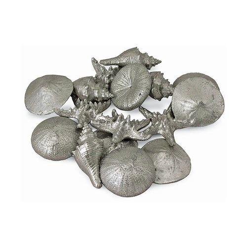 Set of 12 Assorted Silver Mini Seashells