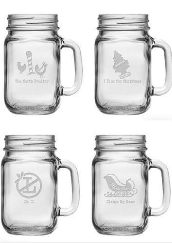 Set of 4 Handled Drinking Jars - Holiday Puns