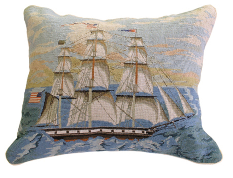Ship at Full Mast Needlepoint Pillow