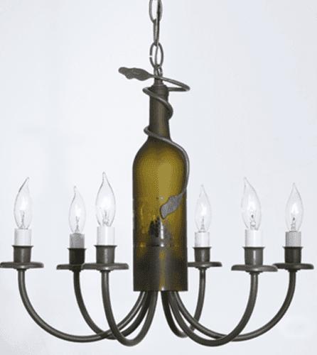 Six Light Wine Bottle Chandelier