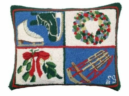 Skates and Sled Christmas Pillow