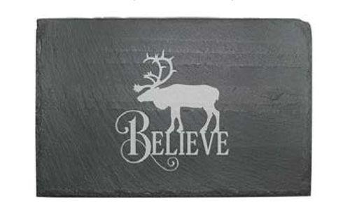 Slate Cheese Server - Believe Reindeer