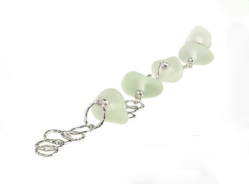 Slender Curve Link Bead Sea Glass Bracelet <font color=a8bb35> Sold Out</font>