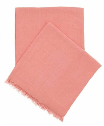 Stone Washed Linen Throw Coral