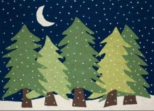 Trees In Snowy Night  Indoor Christmas Doormat