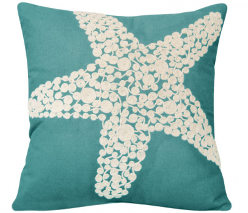 Turquoise Crewel Rope Knotted Starfish Indoor Pillow<font color=a8bb35> Sold Out</font>