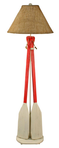 Cottage/Classic Red Two Paddle w/ Rope Floor Lamp