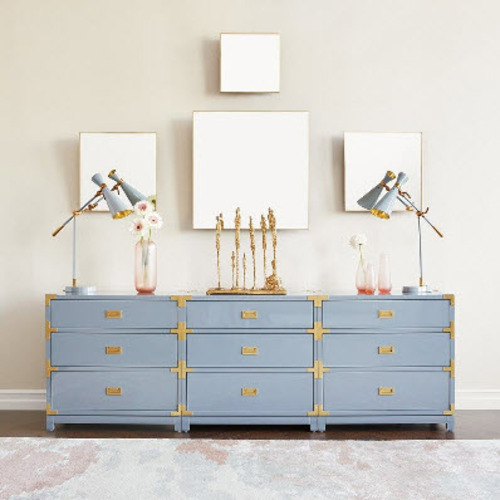 Victoria 3-Drawer Side Table - Gray