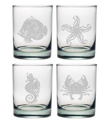 Vintage Coastal DOR Glasses Set of 4