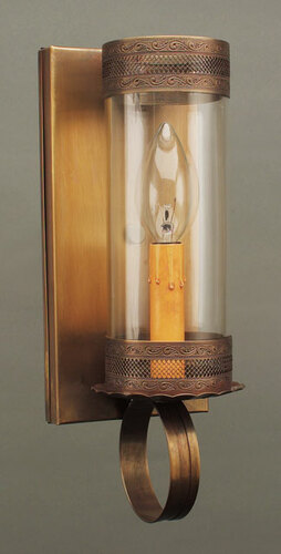 Wall Sconce with Galley and 3 x 8 Glass Cylinder