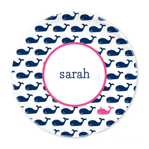 Whale Navy Plates - Set of Four
