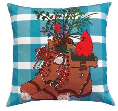 Winter Boots Christmas Pillow