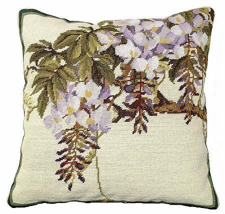 Wisteria Needlepoint Pillow