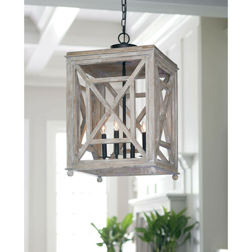Wood Lattice Lantern 4-Light Chandelier
