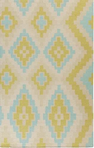 Alameda Lime Green/Teal Flat Weave Rug