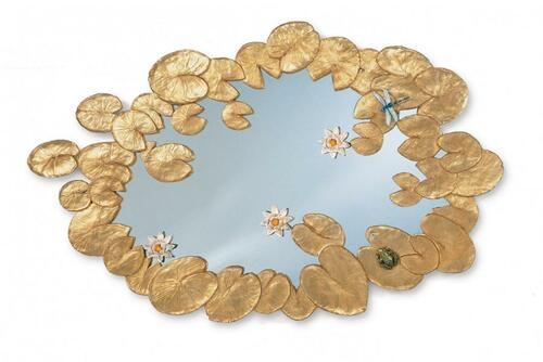Antique Gold Water Lilies Mirror
