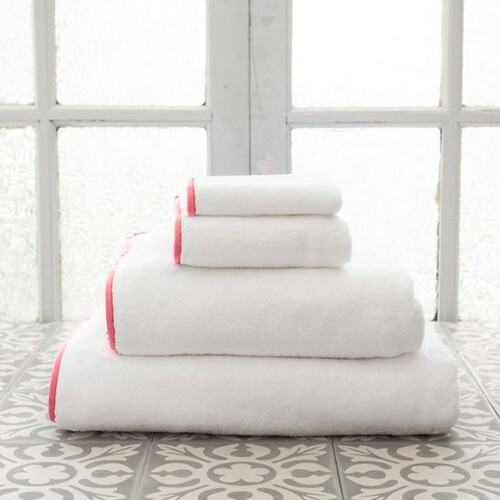 Banded White/Coral Bath Towels