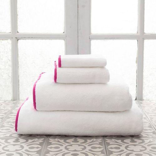 Banded White/Fuchsia Bath Towels