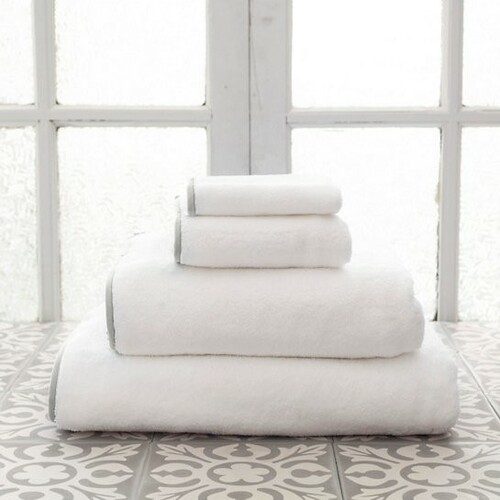 Banded White/Gray Bath Towels