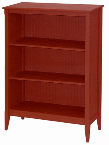 Bead Board Tall Wide Cottage Bookcase - Three Shelves