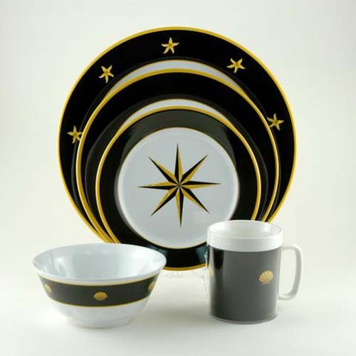 Black Compass Melamine Dinnerware Collection with Platter
