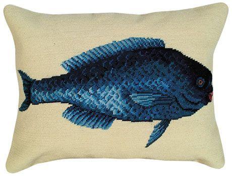 Blue Fish Needlepoint Pillow
