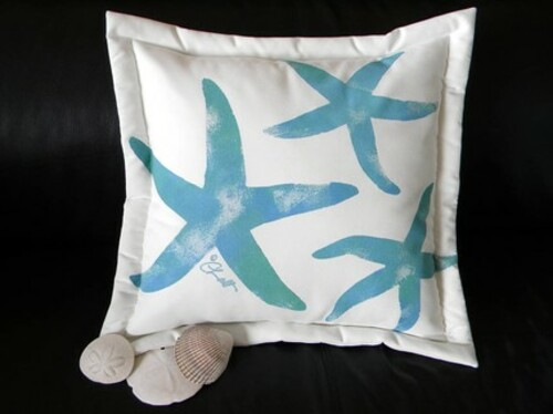 Blue-Green Starfish Handpainted Pillow