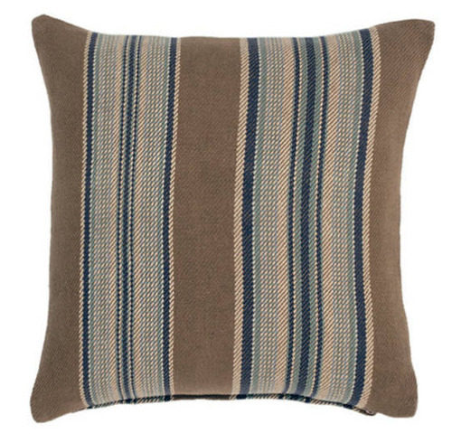Blue Heron Stripe Cotton Decorative Pillow